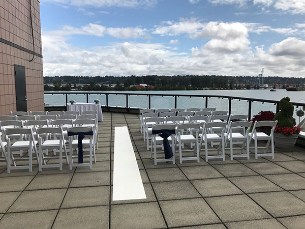 Ceremony setup on Inn at the Quay patio